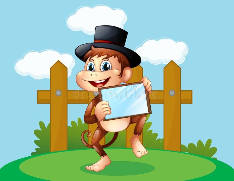 Un mono que sostiene un espejo fuera de la cerca de madera stock de ilustración