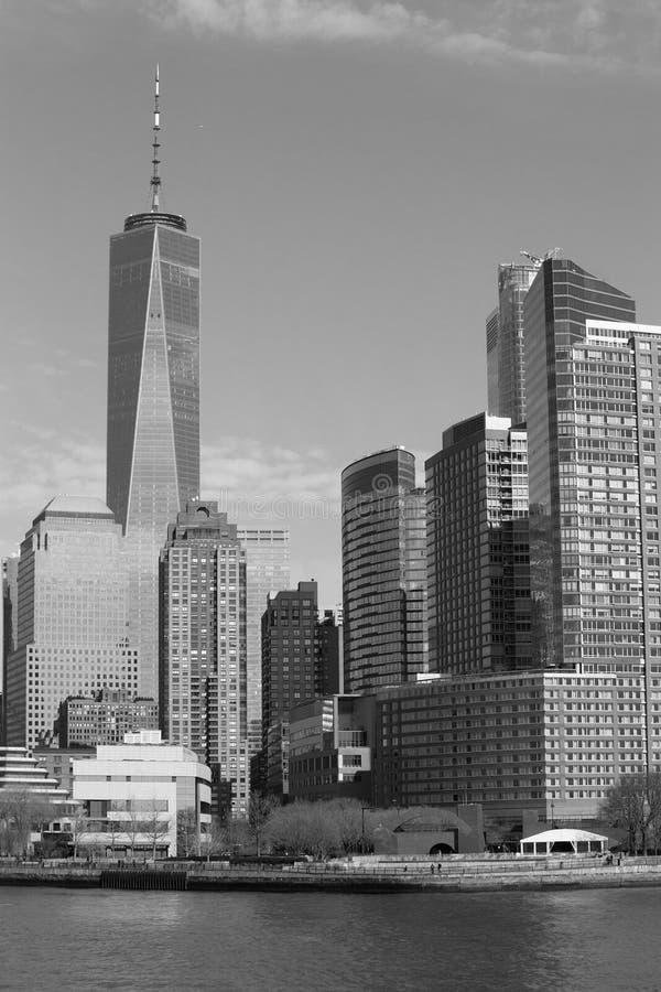 Un monocromio del centro di commercio mondiale, New York fotografia stock libera da diritti