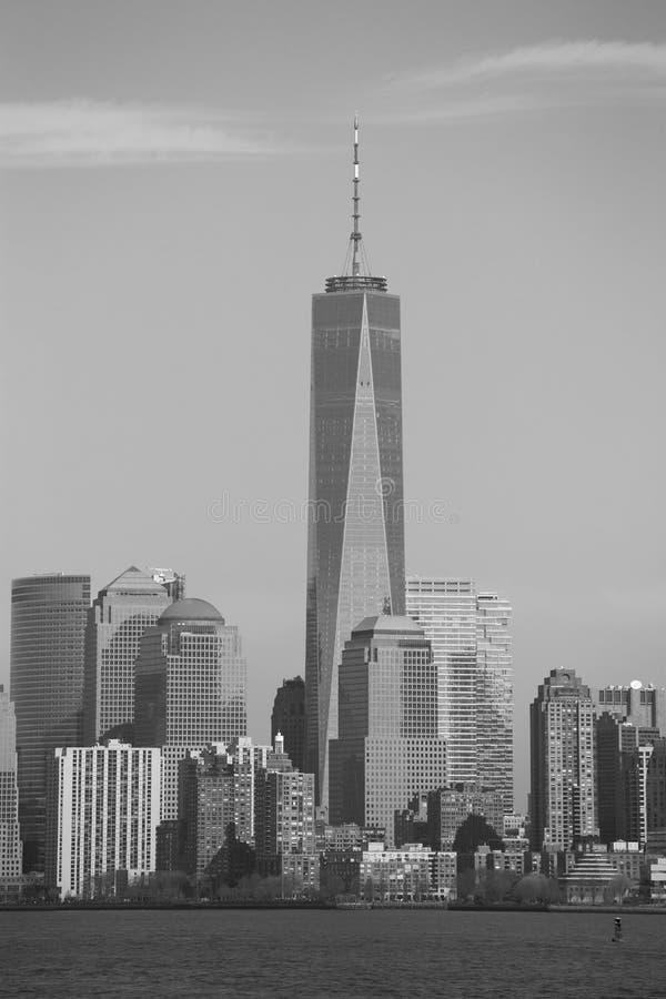Un monocromio del centro di commercio mondiale, New York immagine stock