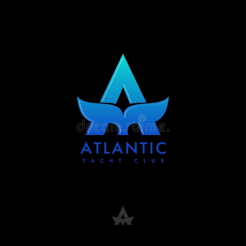Un monogramma Logo atlantico Segni A e l'emblema con lettere della coda della balena Viaggio dell'oceano e del mare illustrazione di stock