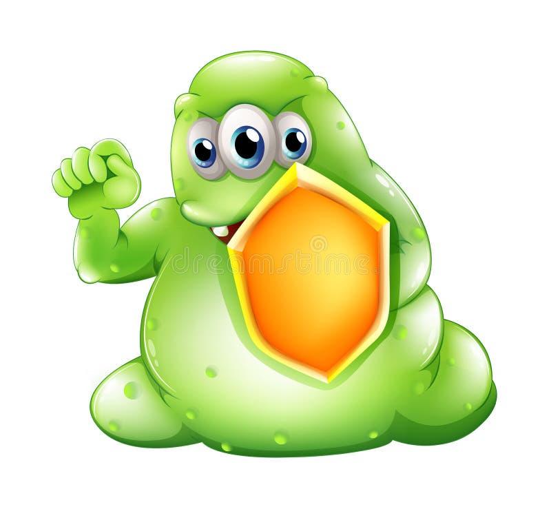 Un monstre courageux de greenslime tenant un bouclier illustration de vecteur