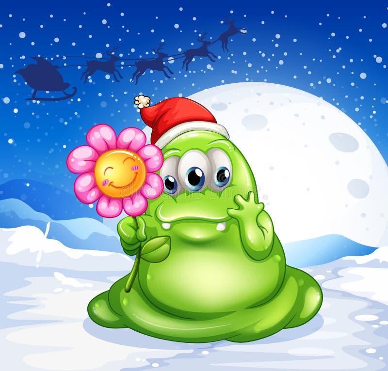 Un monstre dans une terre neigeuse tenant une fleur illustration stock