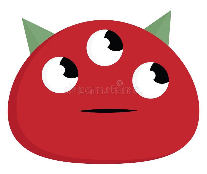 Un monstre de couleur rouge planifiant le vecteur de déplacement suivant ou l'illustration de couleur suivante illustration libre de droits