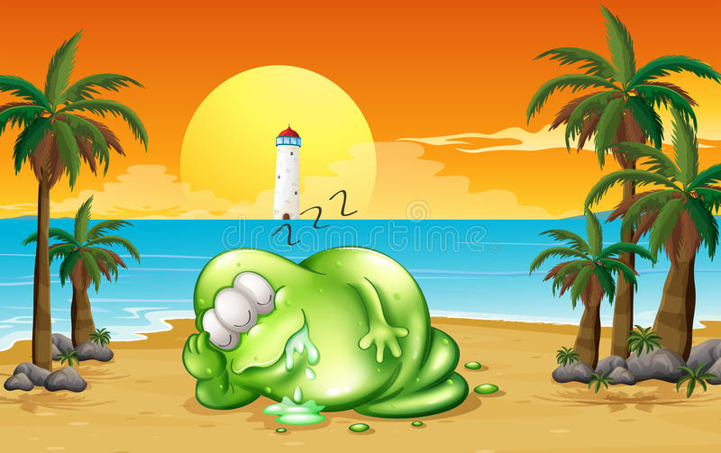 Un monstre dormant solidement à la plage illustration libre de droits