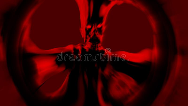 Un monstre rouge terrible se tient avec des bras tendus illustration 3D illustration libre de droits