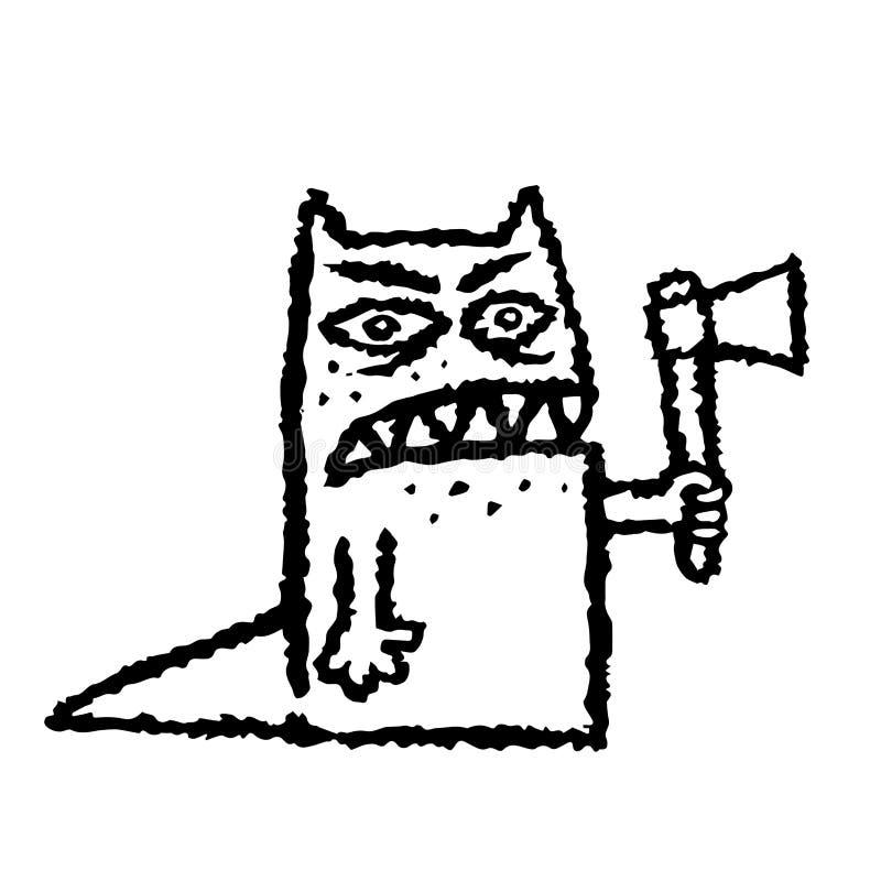 Un monstre toothy drôle avec une hache dans sa main Illustration de vecteur illustration de vecteur