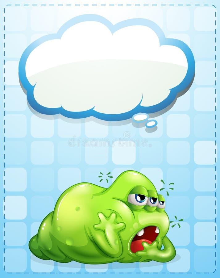 Un monstre vert aux yeux de trois fatigué avec une légende vide illustration stock