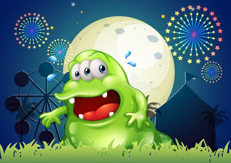 Un monstre vert en sueur devant le parc d attractions