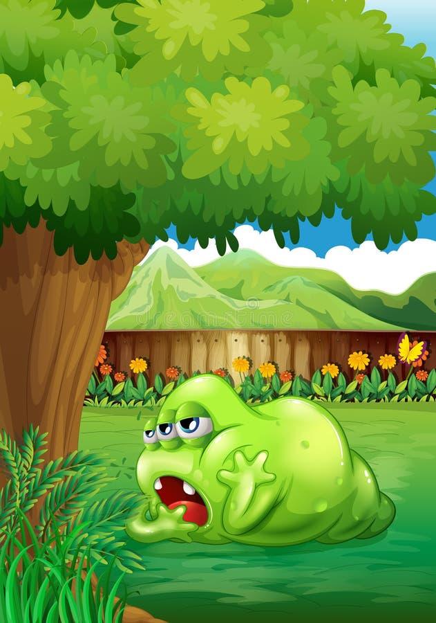 Un monstre vert fatigué près de l'arbre illustration de vecteur