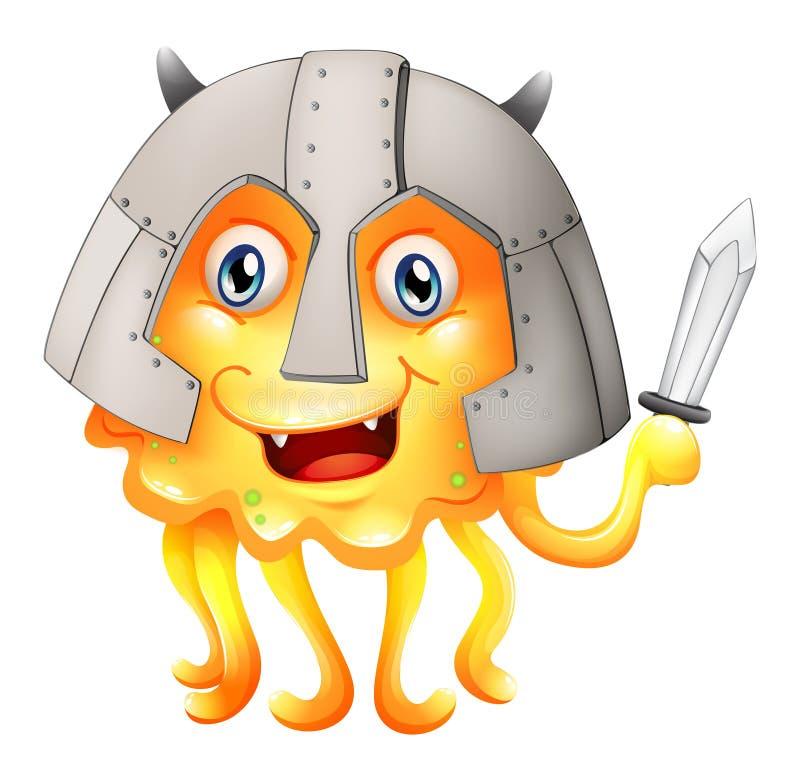 Un monstruo con una espada y un casco