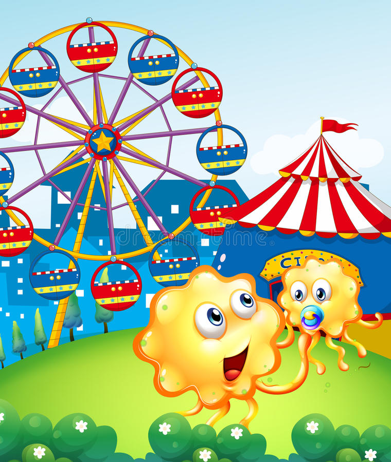 Un monstruo del bebé con su madre en la cumbre con un carnaval stock de ilustración