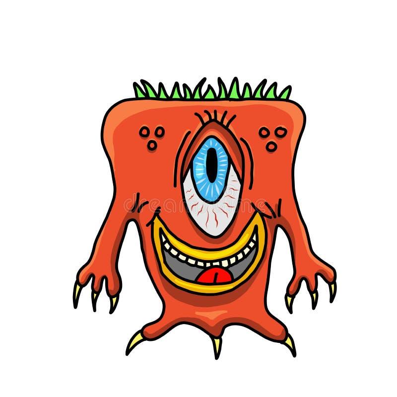 Un monstruo feliz Dibujo original stock de ilustración