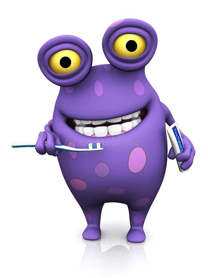 Un monstruo manchado que cepilla sus dientes. ilustración del vector