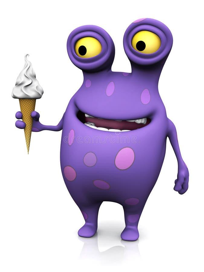 Un monstruo manchado que sostiene un helado. ilustración del vector