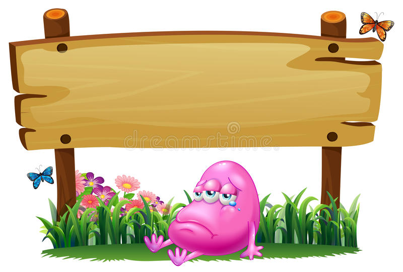 Un monstruo rosado de la gorrita tejida debajo del letrero de madera vacío stock de ilustración