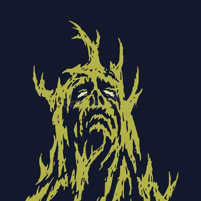 Un monstruo triste con las ramas que crecen fuera de su cuerpo Ilustración del vector stock de ilustración