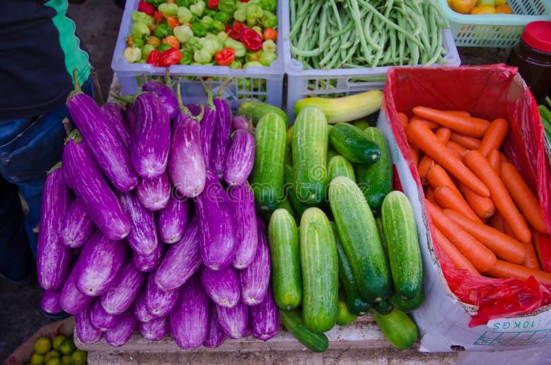 Un montón de frutas y verduras, berenjenas, pepinos, cocos, habas, zanahorias, pimientas de chile imagen de archivo