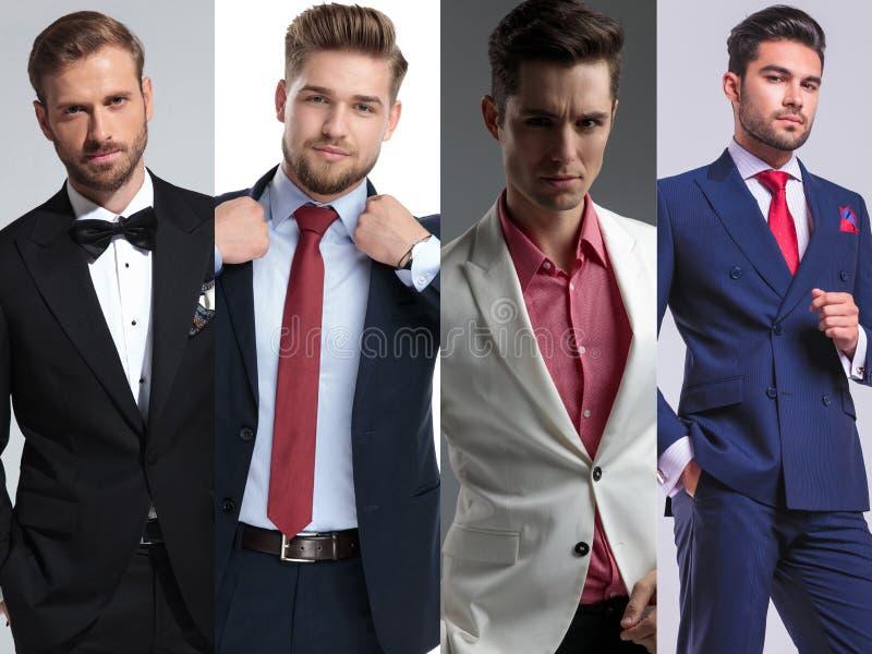 Un montaggio di immagine posa bella di quattro di giovane uomini immagine stock libera da diritti