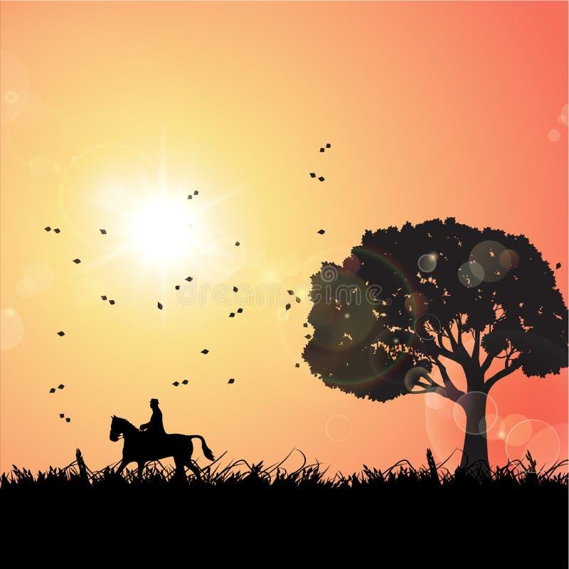 Un montar a caballo del hombre en un caballo stock de ilustración