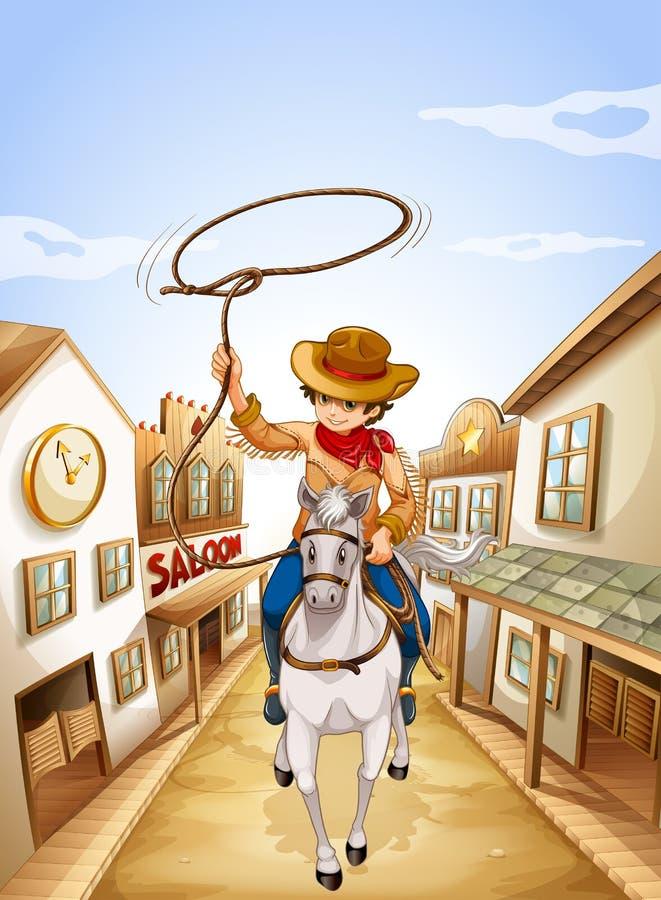 Un montar a caballo del muchacho en un caballo que lleva a cabo una cuerda ilustración del vector