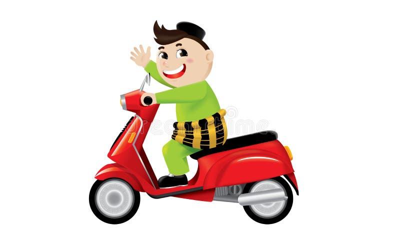 Un montar a caballo musulmán del muchacho en una moto linda libre illustration