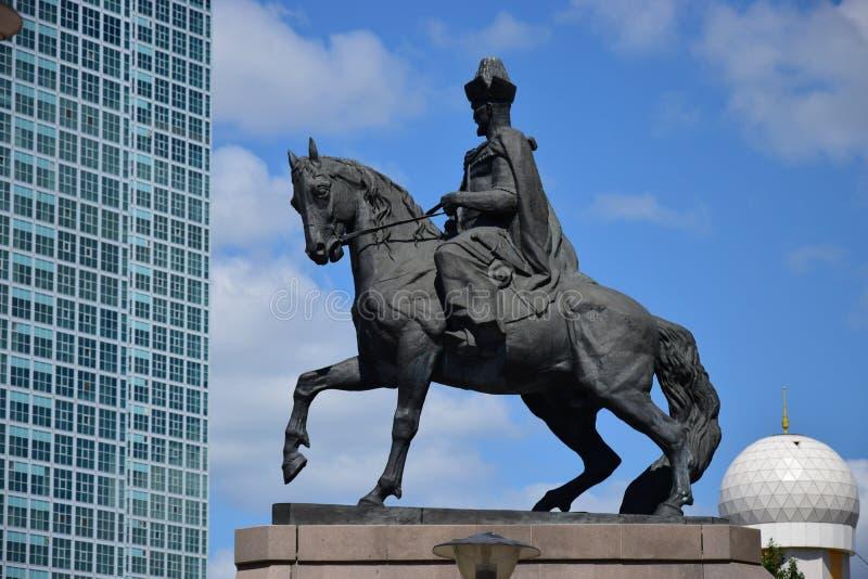 Un monument à Kenesary Khan à Astana image libre de droits
