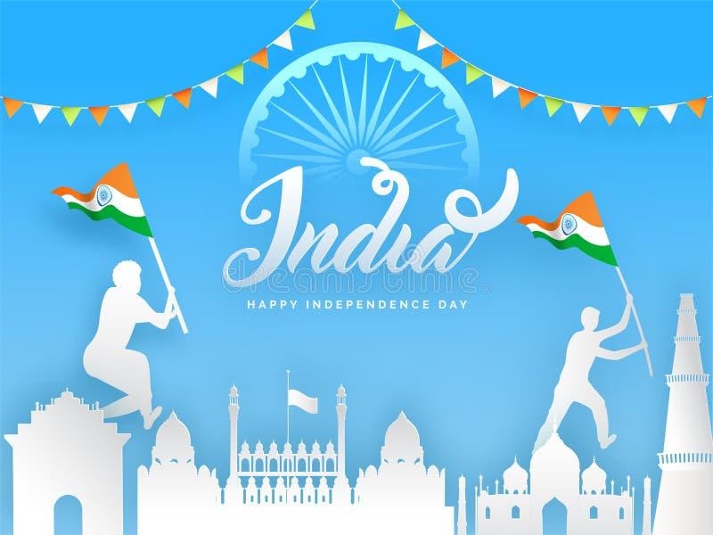 Un monument de style papier célèbre indien comme le Fort Rouge avec la porte de l'Inde, le miniclub Qutub et l'illustration illustration stock