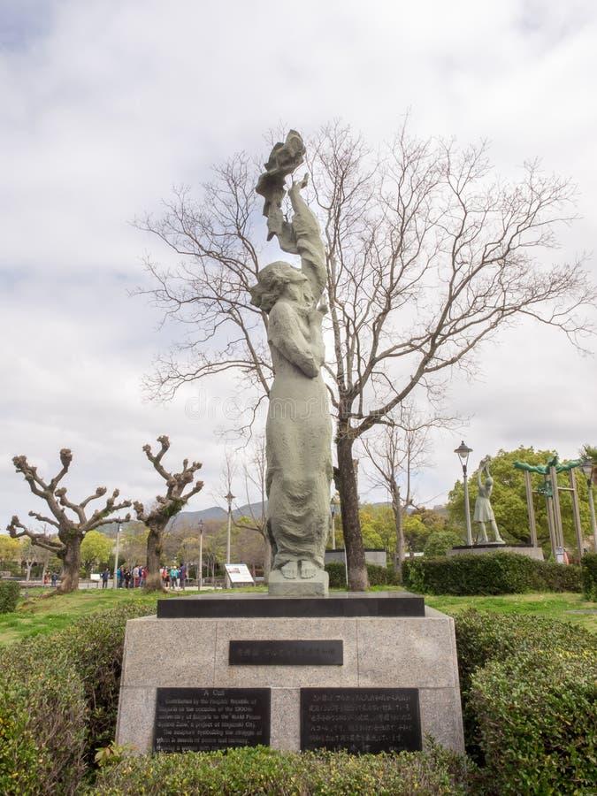 Un monumento de la llamada en Nagasaki foto de archivo libre de regalías