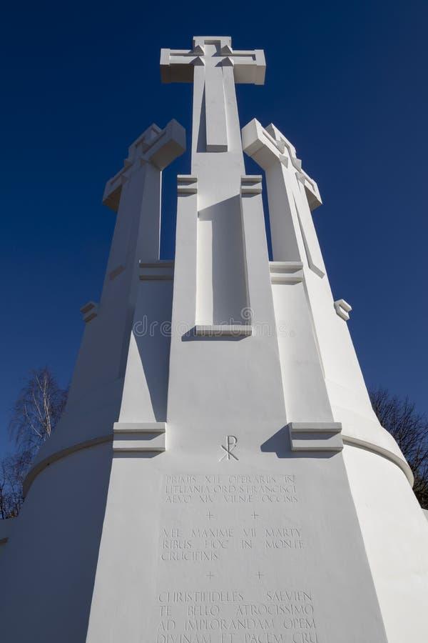 Un monumento di tre incroci a Vilnius Lituania immagine stock libera da diritti