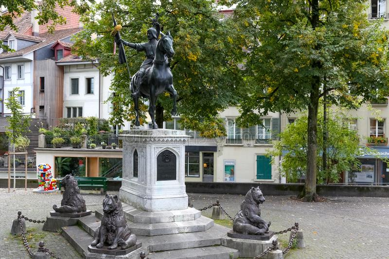 Un monumento equestre a Rudolf von Erlach fotografie stock