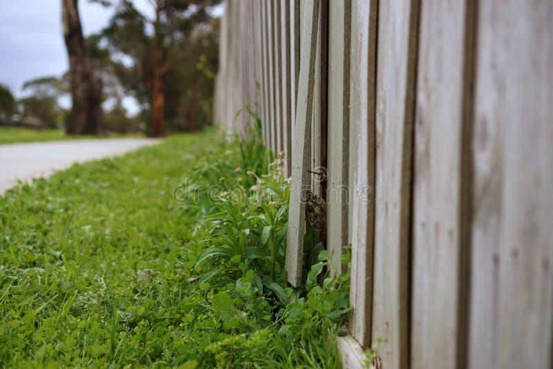 Un morceau de barrière en bois cassée photographie stock libre de droits