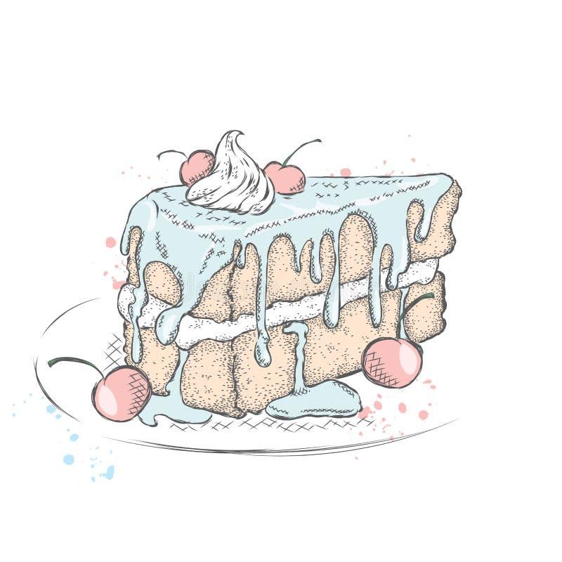 Un morceau de beau gâteau avec de la crème et la cerise illustration libre de droits