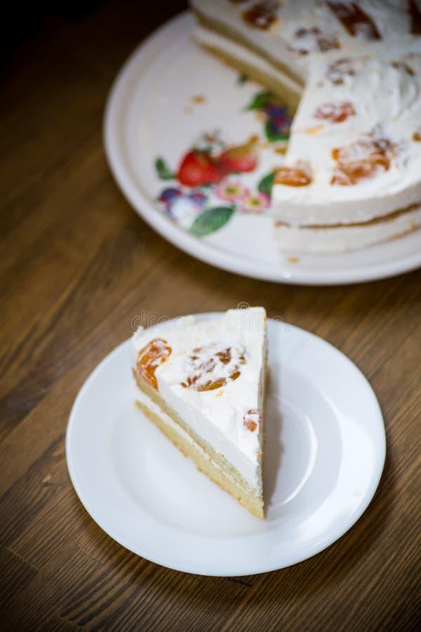 Un morceau de gâteau doux fait maison avec de la crème et les abricots en boîte photo stock