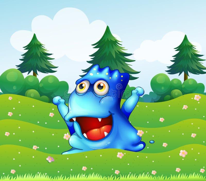 Un mostro blu felice vicino ai pini