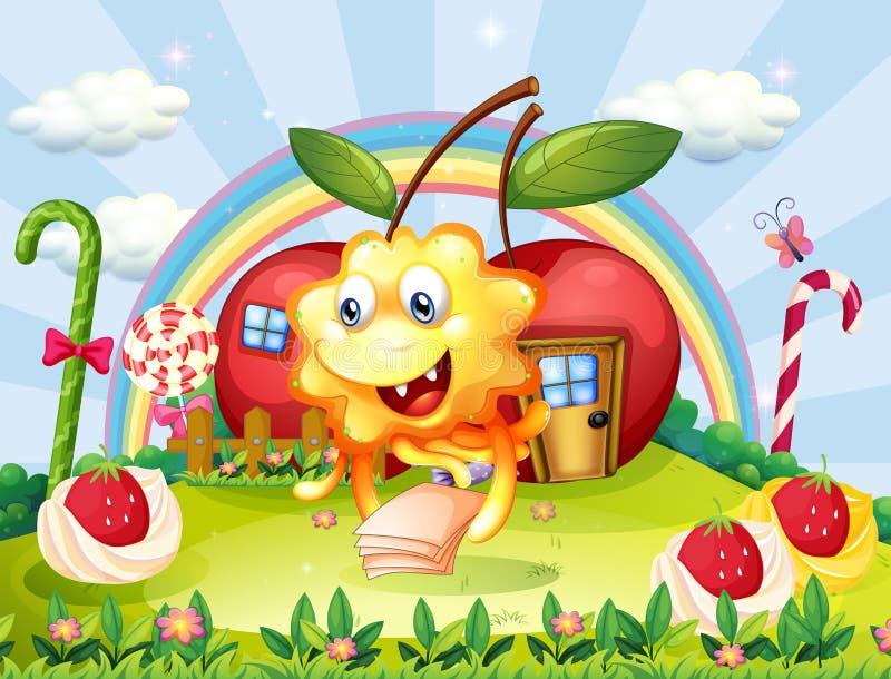 Un mostro felice alla sommità con le lecca-lecca e la mela giganti uff illustrazione di stock