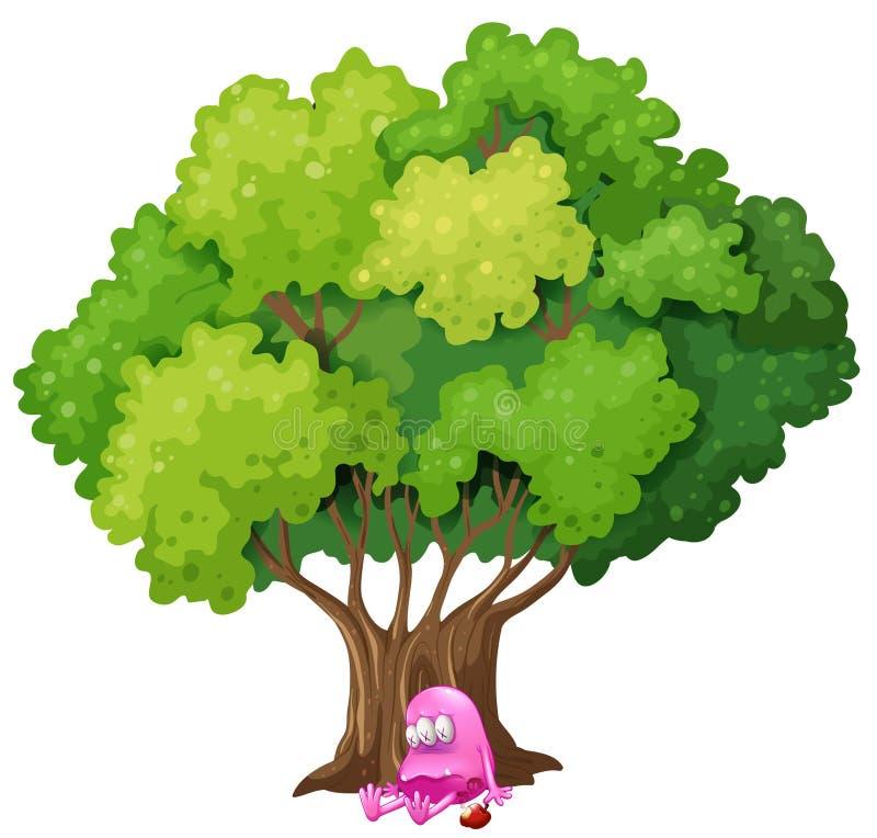 Un mostro rosa avvelenato sotto l'albero illustrazione vettoriale