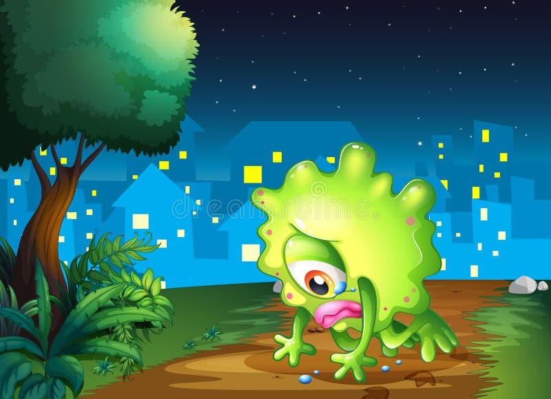 Un mostro stanco che affronta la terra vicino all'albero illustrazione di stock