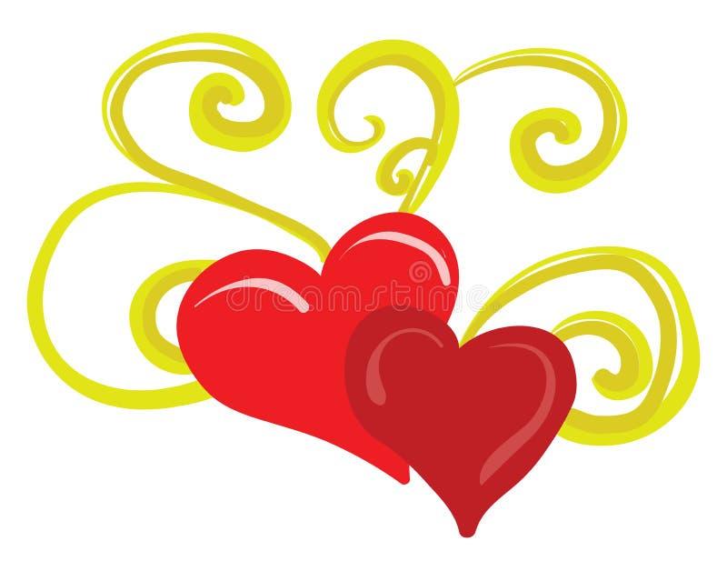Un motif de deux coeurs rouges avec des ornements floraux dorés vectoriels ou une illustration de couleur illustration de vecteur