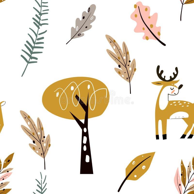 Un motif enfantin avec des cerfs mignons dans le bois Éléments forestiers et formes dessinées à la main Texture chilienne illustration stock