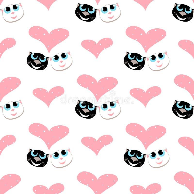 Un motif sans pareille avec deux chats amoureux regardez un grand coeur vecteur illustration libre de droits