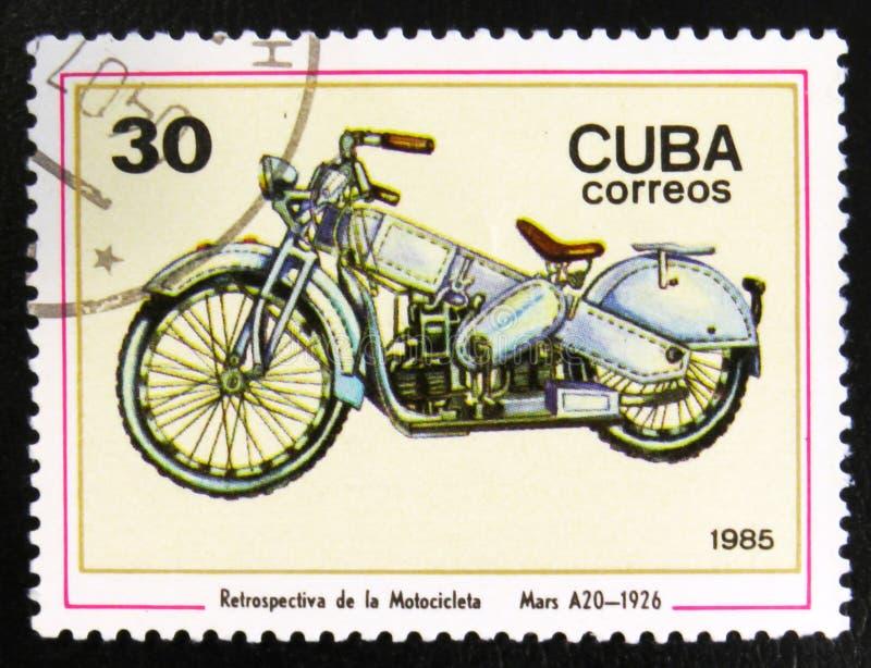 """Un motociclo di Marte A20, 1926, serie di immagini """"motociclo d'annata """", circa 1985 fotografia stock libera da diritti"""