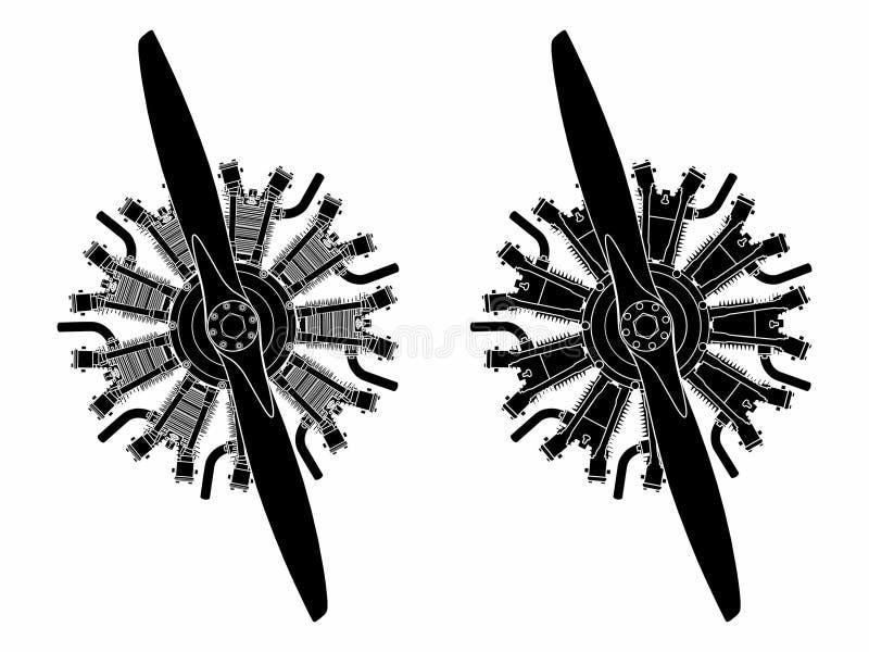 un motore radiale di 9 cilindri colorato Materiale di riempimento nero soltanto illustrazione di stock