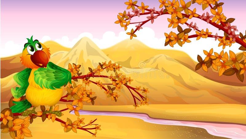 Un Mountain View avec un oiseau illustration libre de droits