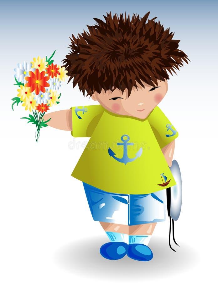 Un mozzo, cappello navale bianco una maglietta verde con gli shorts blu dipinti di un'ancora con un mazzo dei fiori in sua mano illustrazione vettoriale