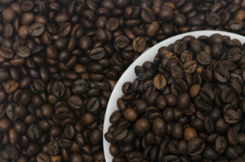 Un mucchio dei chicchi di caffè in un piattino bianco con i fagioli nei precedenti fotografie stock libere da diritti