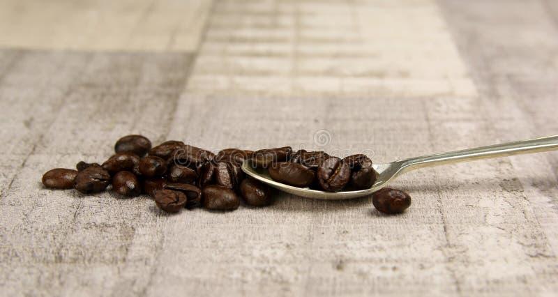Un mucchio dei chicchi di caffè su un cucchiaio fotografia stock