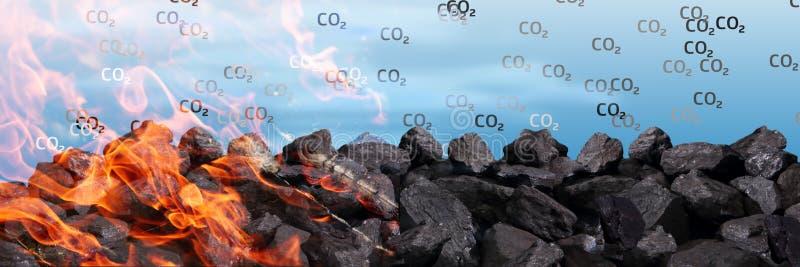 Un mucchio dell'anidride carbonica nera delle ustioni e dei rilasci del carbone nell'atmosfera fra altri veleni fotografia stock libera da diritti