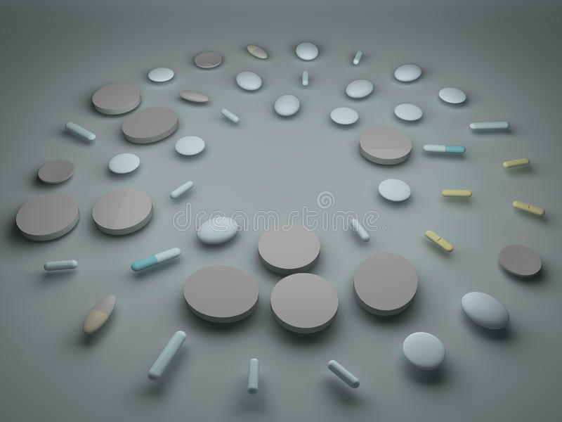 Un mucchio delle pillole e delle compresse illustrazione di stock