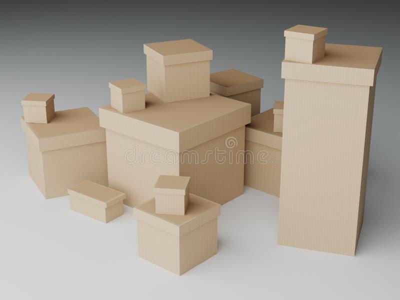Un mucchio delle scatole di cartone illustrazione vettoriale