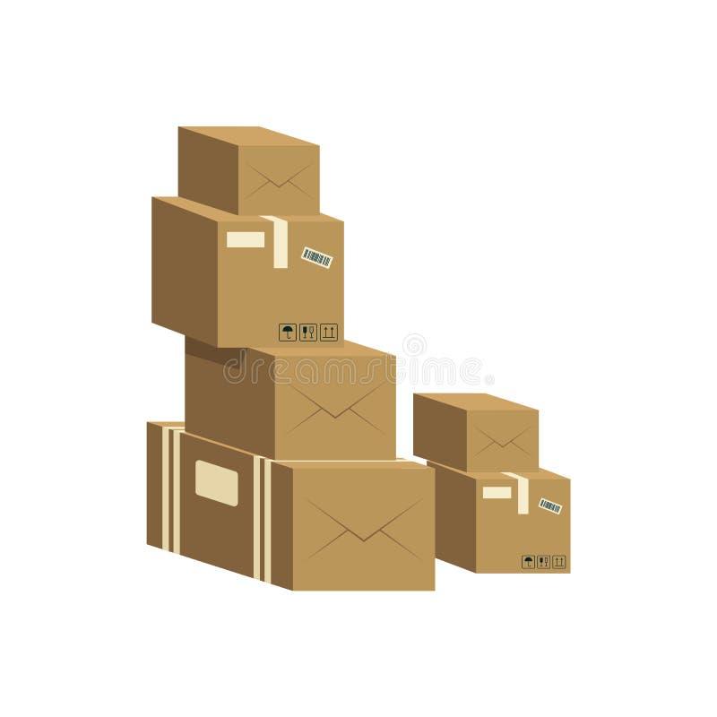 Un mucchio delle scatole di cartone marroni chiuse royalty illustrazione gratis
